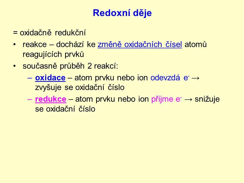 Redoxní děje = oxidačně redukční