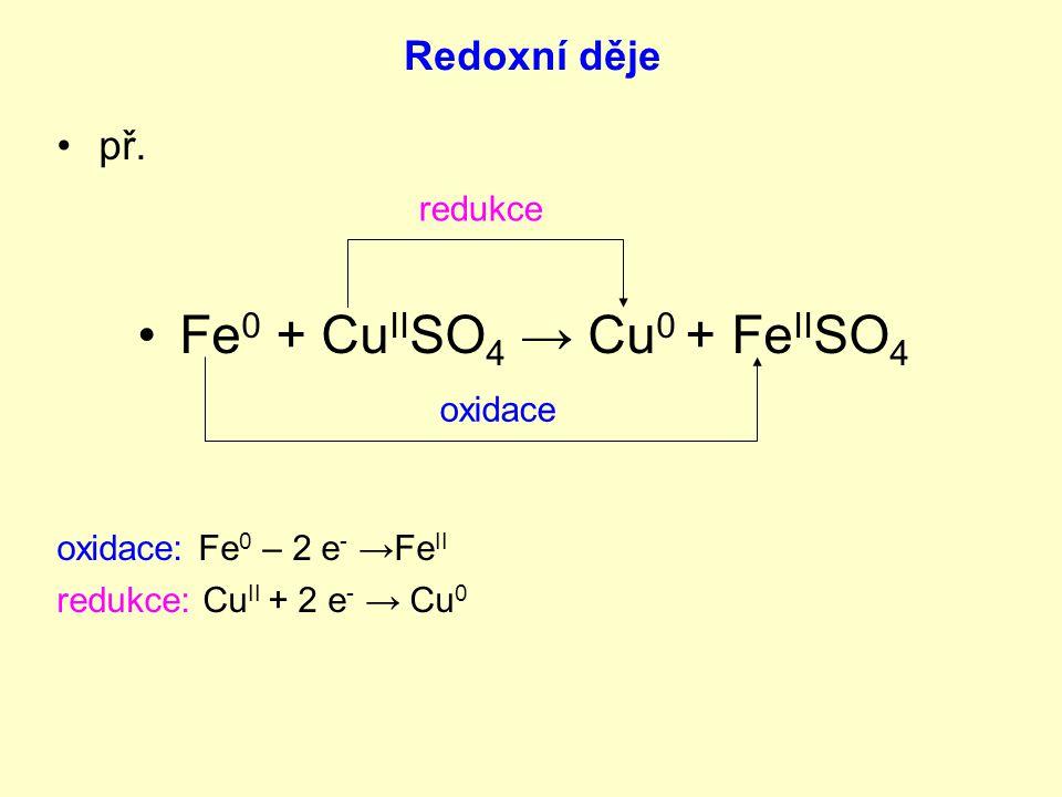 Fe0 + CuIISO4 → Cu0 + FeIISO4 Redoxní děje př. redukce