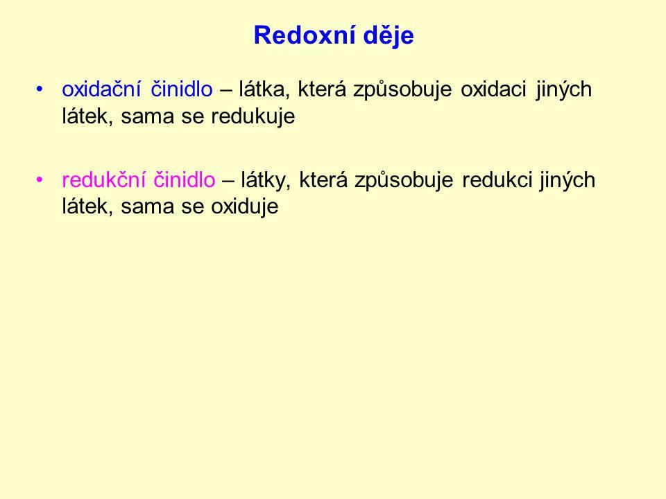 Redoxní děje oxidační činidlo – látka, která způsobuje oxidaci jiných látek, sama se redukuje.