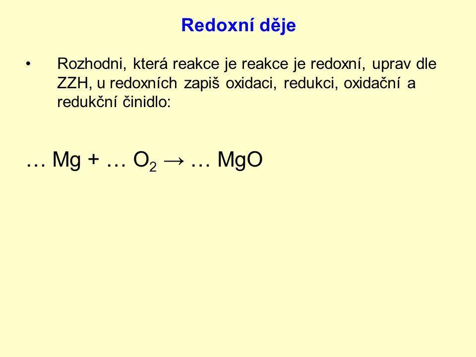 … Mg + … O2 → … MgO Redoxní děje
