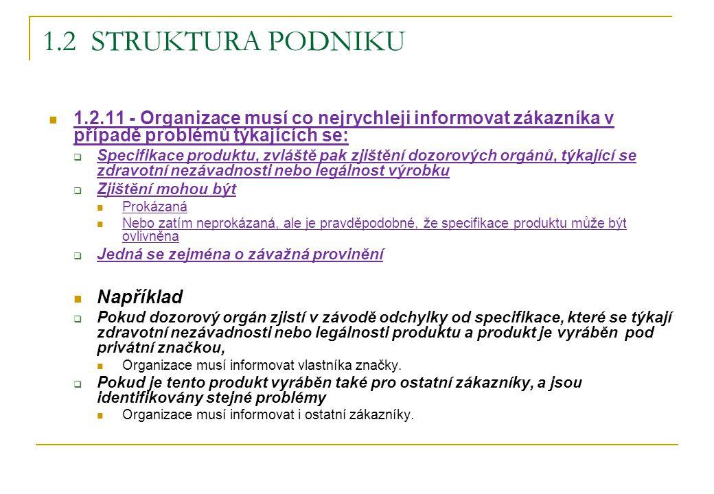 1.2 Struktura podniku 1.2.11 - Organizace musí co nejrychleji informovat zákazníka v případě problémů týkajících se: