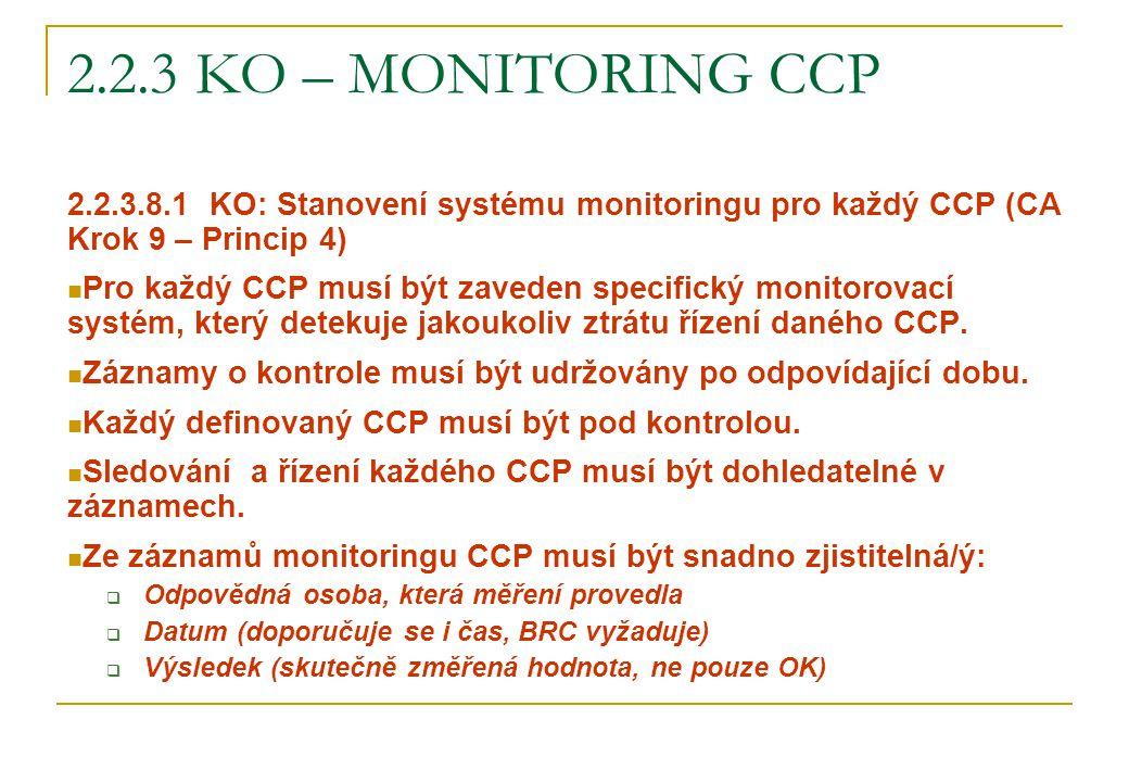 2.2.3 KO – monitoring CCP 2.2.3.8.1 KO: Stanovení systému monitoringu pro každý CCP (CA Krok 9 – Princip 4)