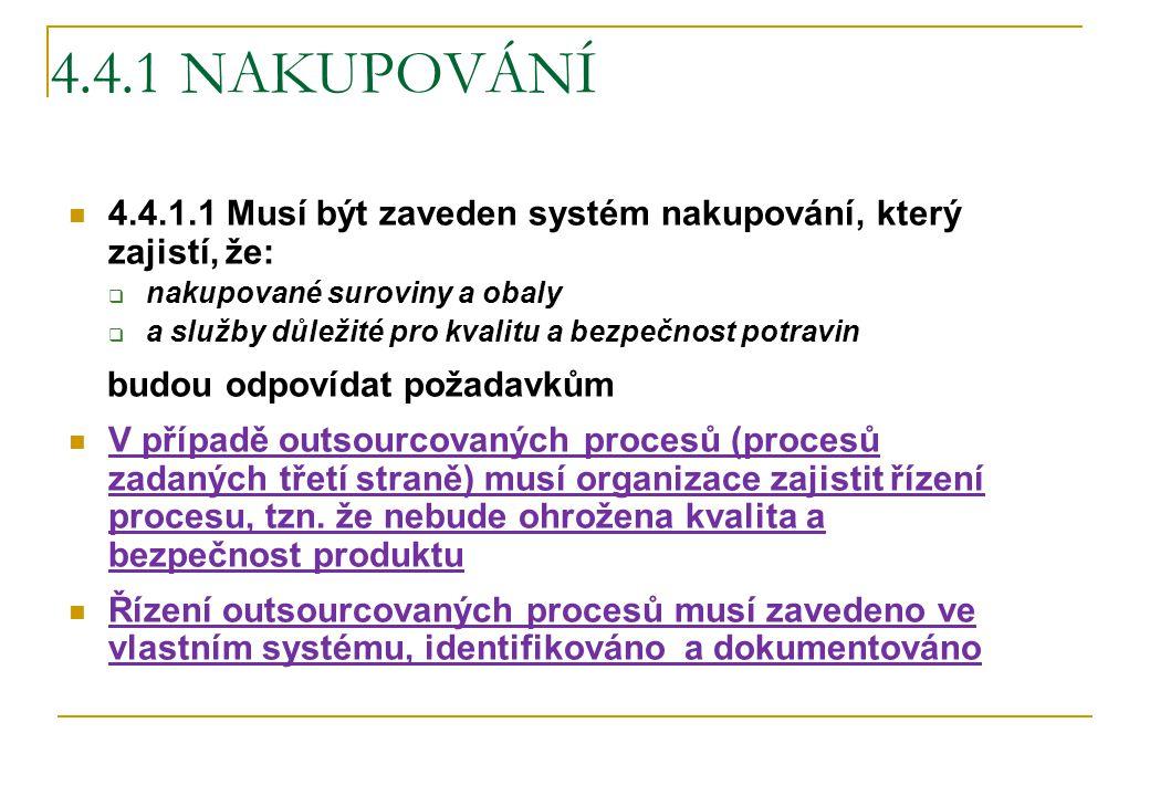 4.4.1 NAKUPOVÁNÍ 4.4.1.1 Musí být zaveden systém nakupování, který zajistí, že: nakupované suroviny a obaly.