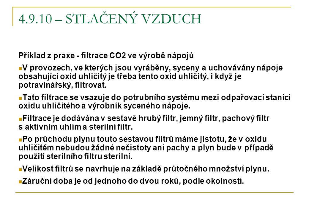 4.9.10 – STLAČENÝ VZDUCH Příklad z praxe - filtrace CO2 ve výrobě nápojů.