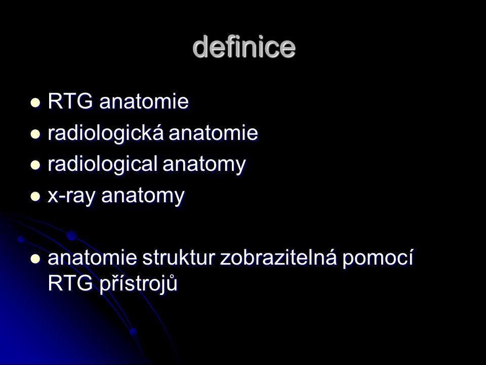 definice RTG anatomie radiologická anatomie radiological anatomy