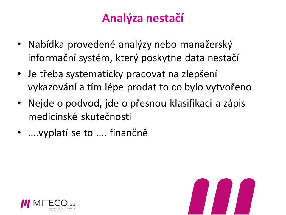 Analýza nestačí Nabídka provedené analýzy nebo manažerský informační systém, který poskytne data nestačí.