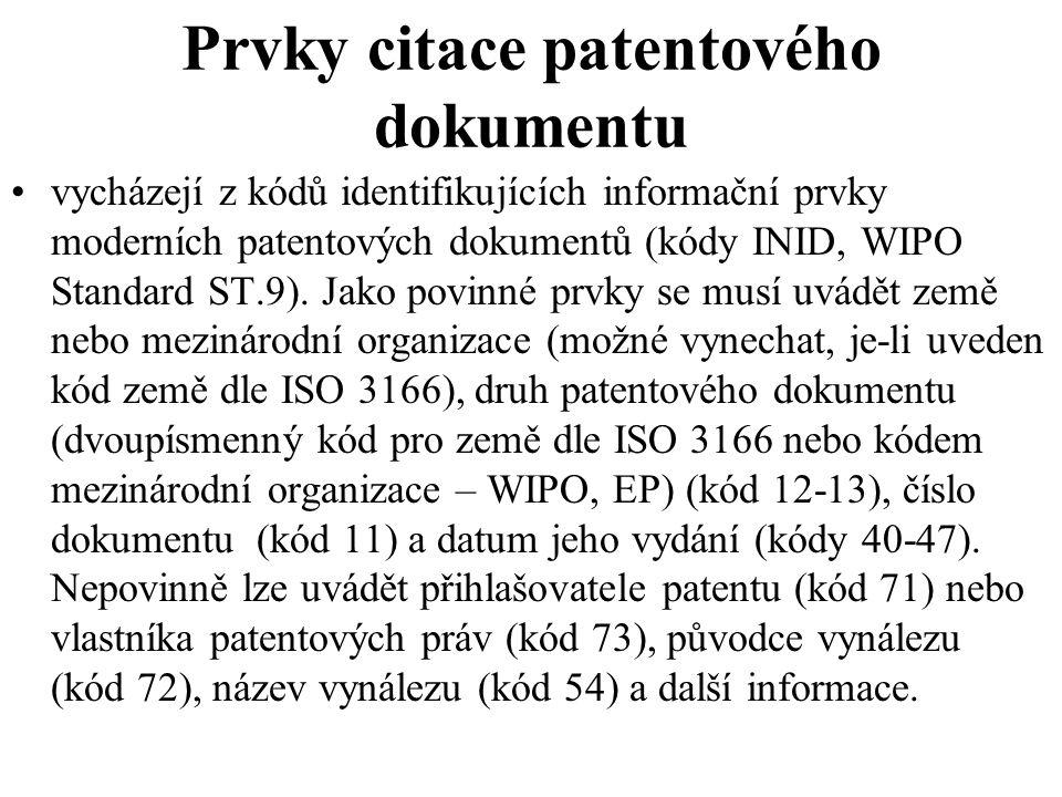 Prvky citace patentového dokumentu