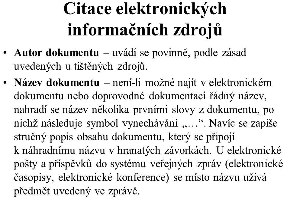 Citace elektronických informačních zdrojů