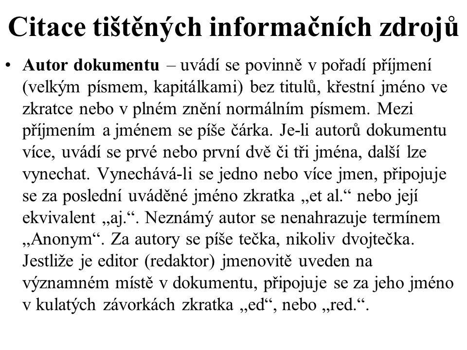 Citace tištěných informačních zdrojů