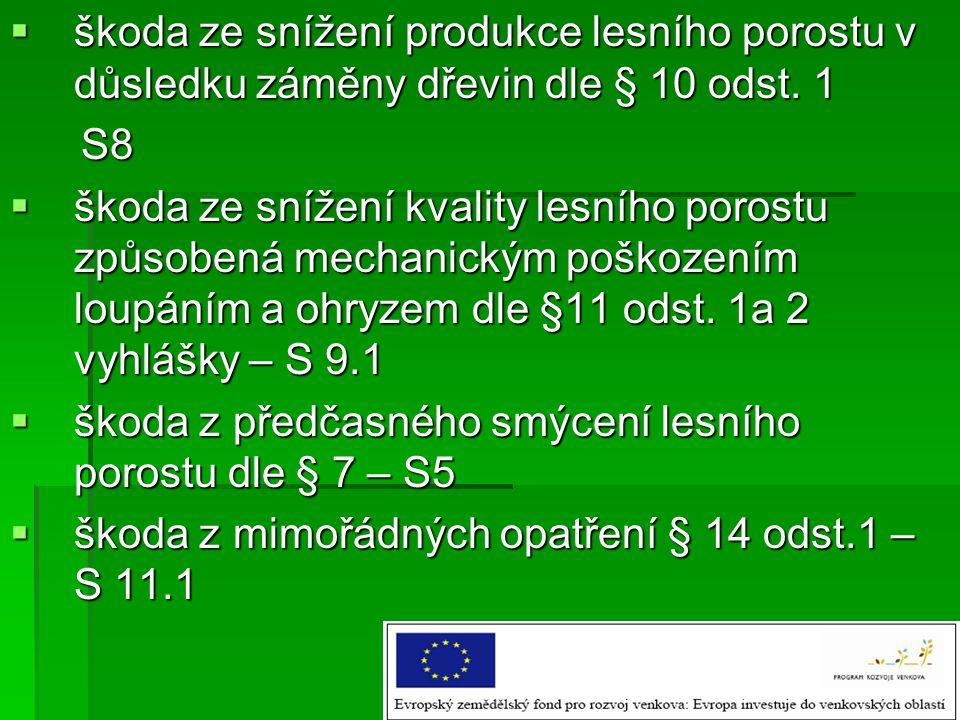 škoda ze snížení produkce lesního porostu v důsledku záměny dřevin dle § 10 odst. 1