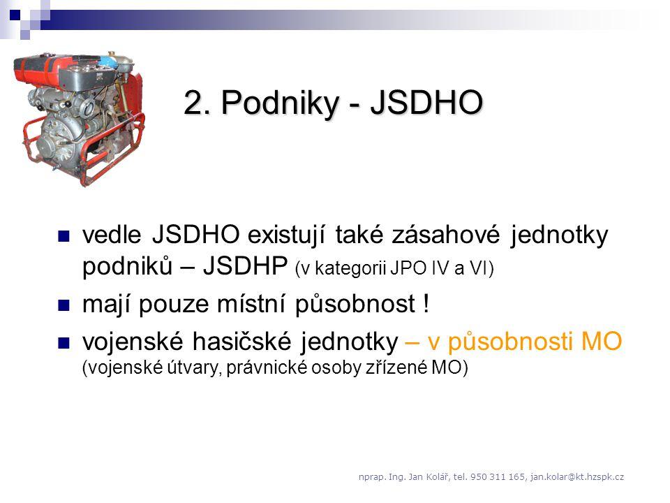 2. Podniky - JSDHO vedle JSDHO existují také zásahové jednotky podniků – JSDHP (v kategorii JPO IV a VI)