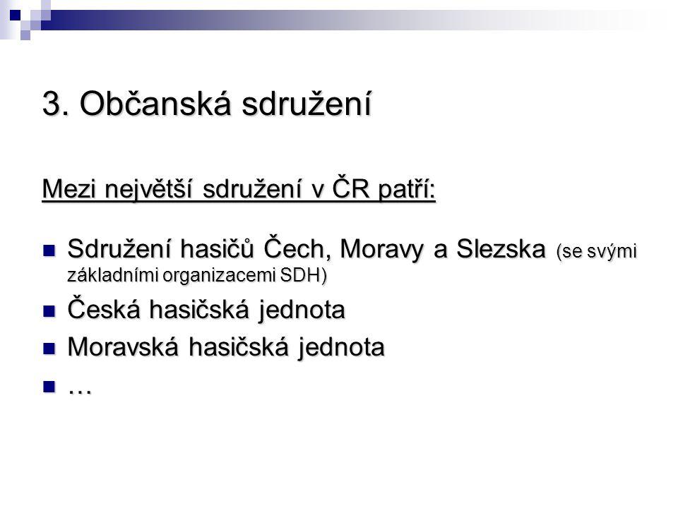 3. Občanská sdružení Mezi největší sdružení v ČR patří:
