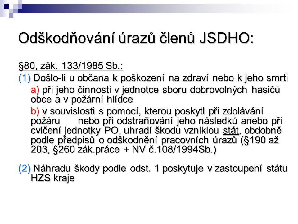 Odškodňování úrazů členů JSDHO: