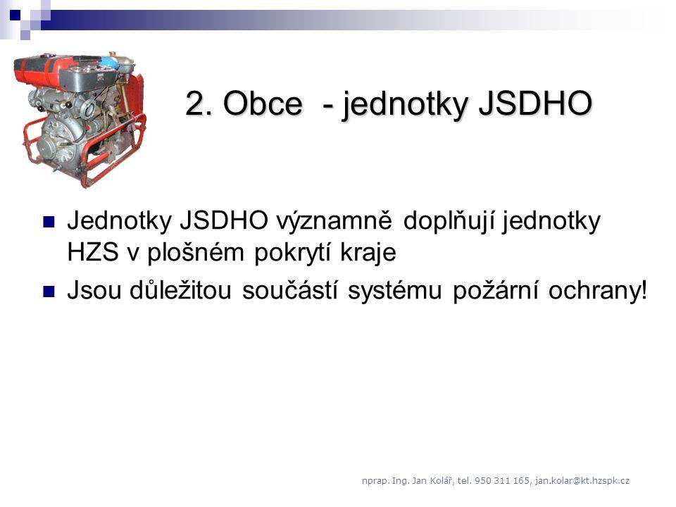 2. Obce - jednotky JSDHO Jednotky JSDHO významně doplňují jednotky HZS v plošném pokrytí kraje. Jsou důležitou součástí systému požární ochrany!