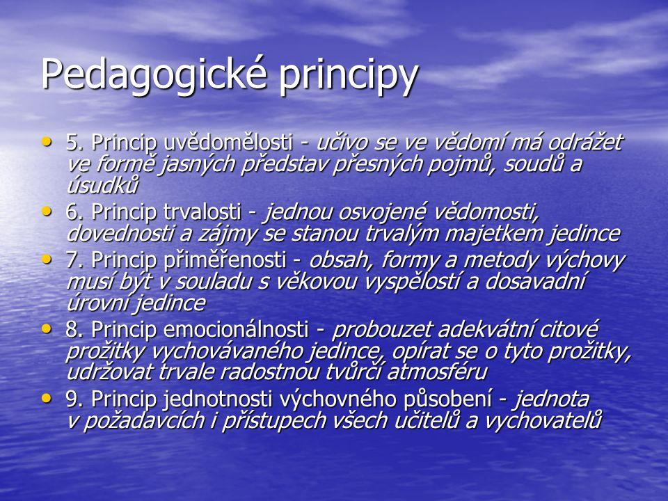 Pedagogické principy 5. Princip uvědomělosti - učivo se ve vědomí má odrážet ve formě jasných představ přesných pojmů, soudů a úsudků.