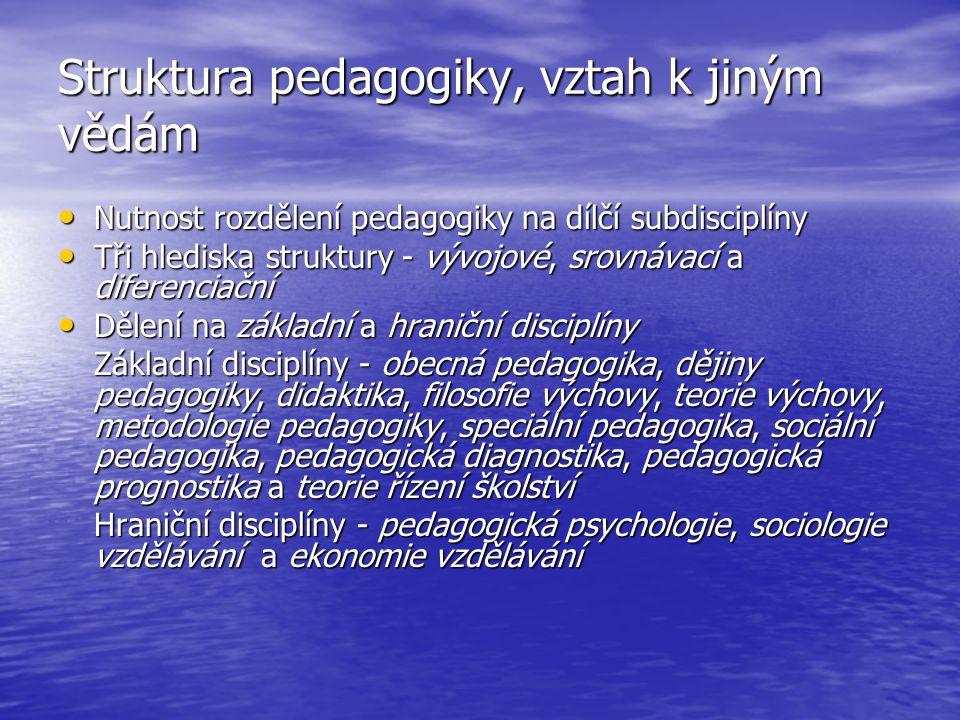 Struktura pedagogiky, vztah k jiným vědám