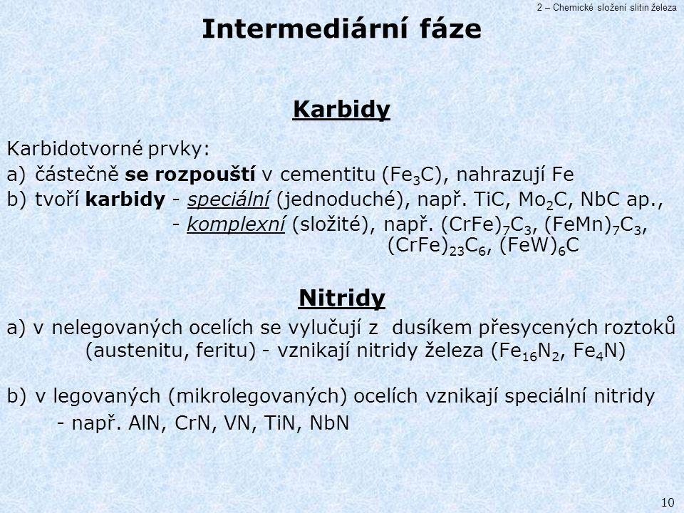 Intermediární fáze Karbidy Nitridy Karbidotvorné prvky:
