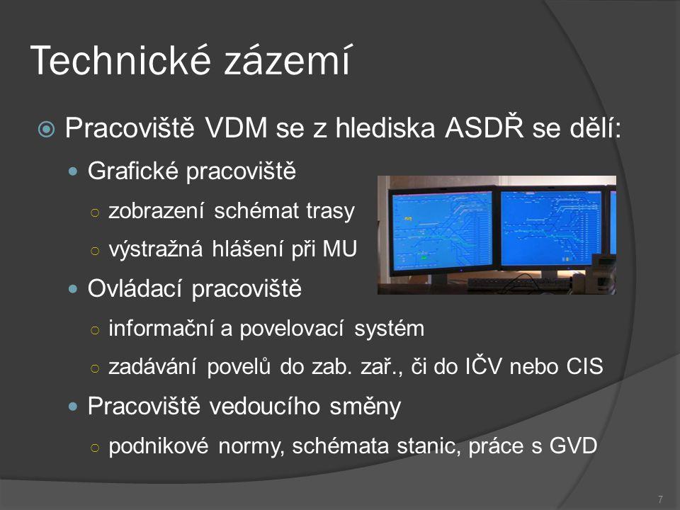 Technické zázemí Pracoviště VDM se z hlediska ASDŘ se dělí:
