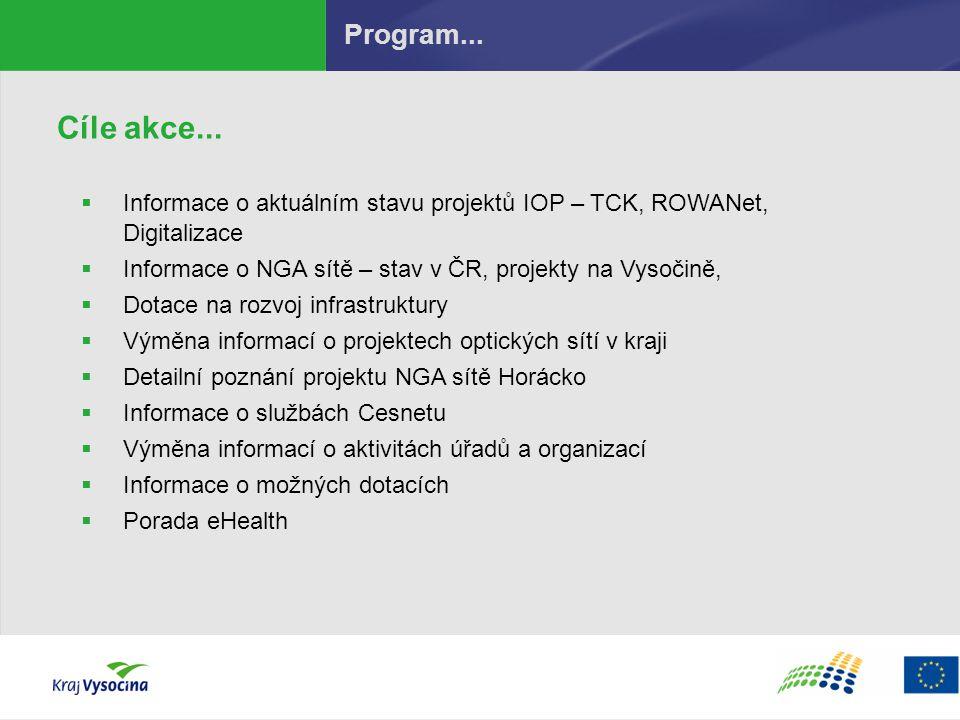 Program... Cíle akce... Informace o aktuálním stavu projektů IOP – TCK, ROWANet, Digitalizace.