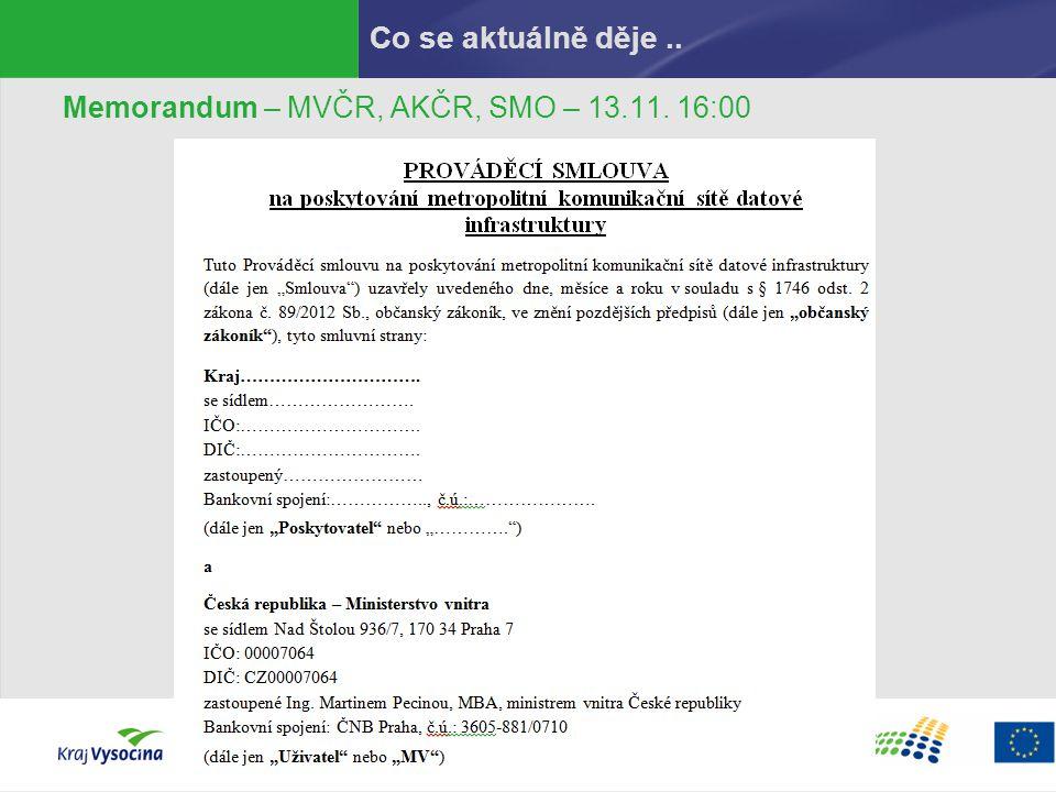 Co se aktuálně děje .. Memorandum – MVČR, AKČR, SMO – 13.11. 16:00