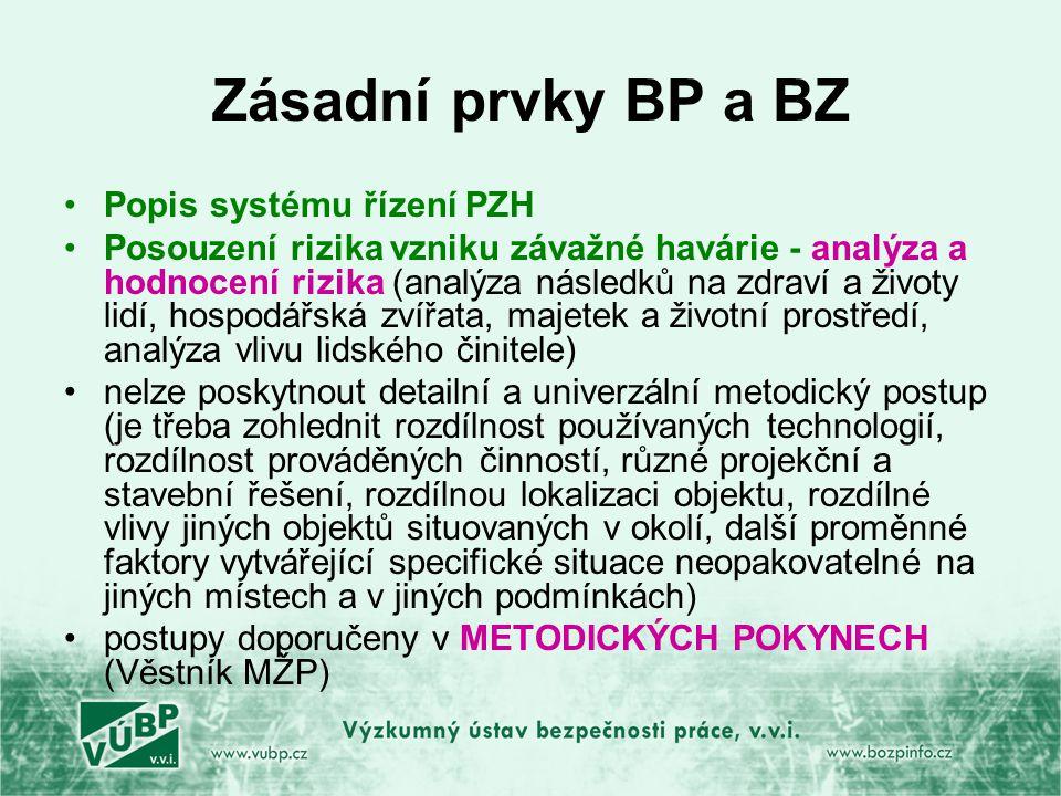 Zásadní prvky BP a BZ Popis systému řízení PZH