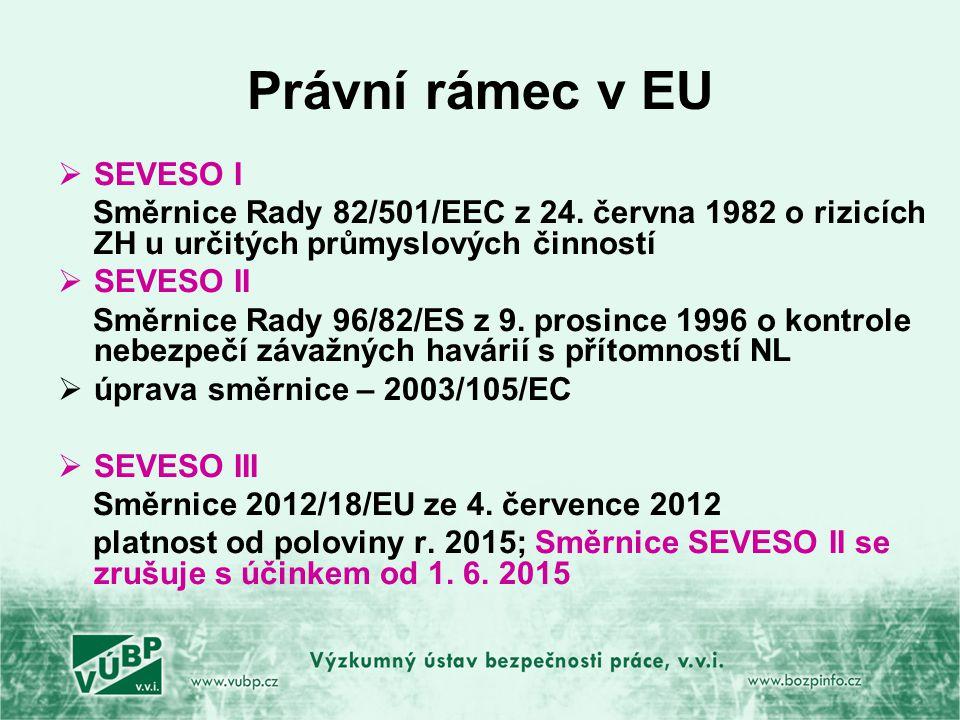 Právní rámec v EU SEVESO I