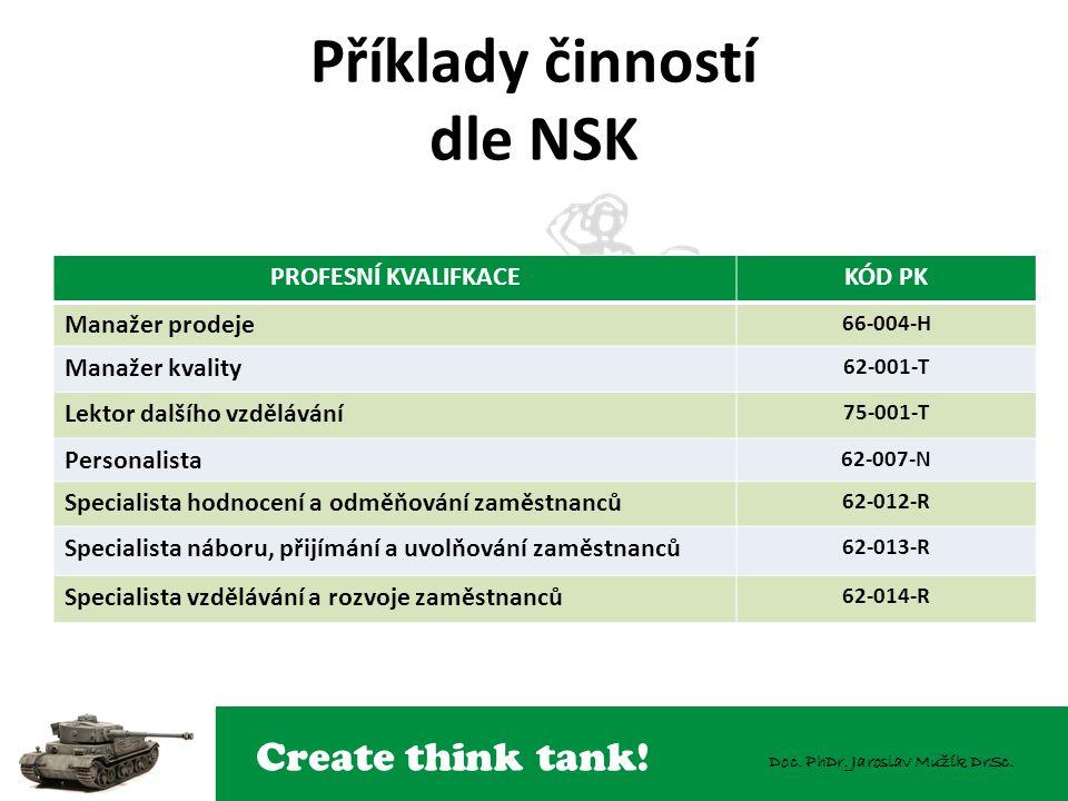 Příklady činností dle NSK