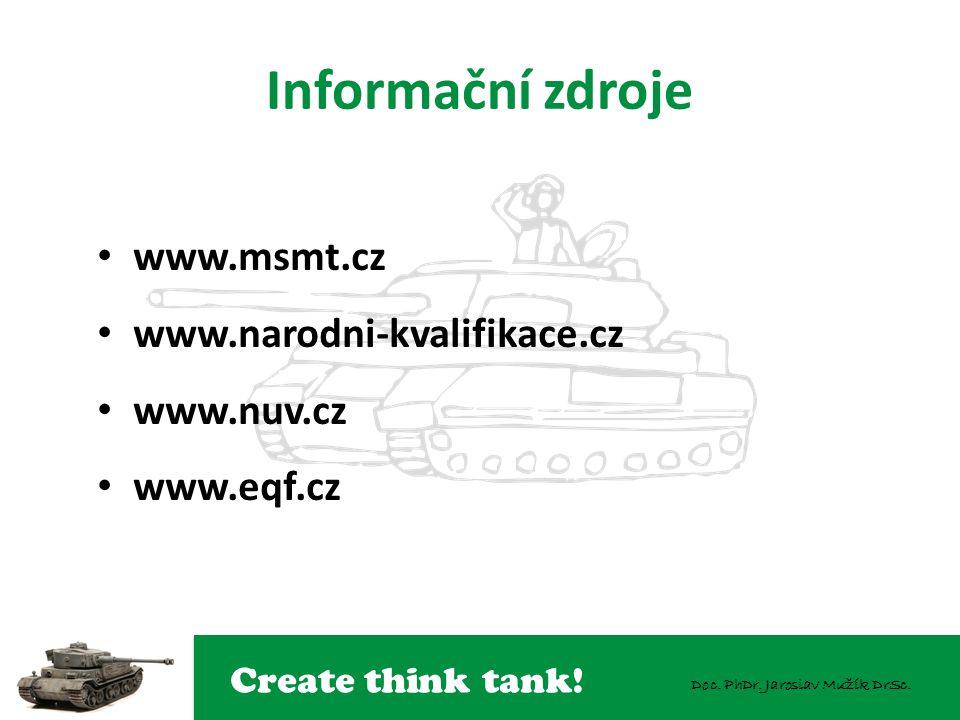 Informační zdroje www.msmt.cz www.narodni-kvalifikace.cz www.nuv.cz