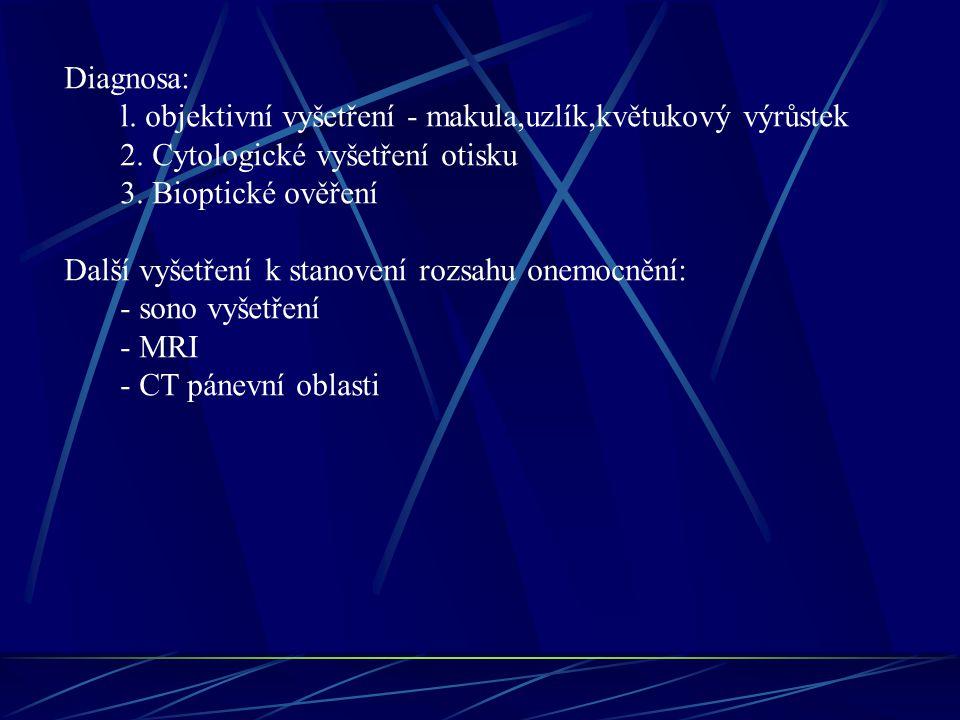 Diagnosa: l. objektivní vyšetření - makula,uzlík,květukový výrůstek. 2. Cytologické vyšetření otisku.