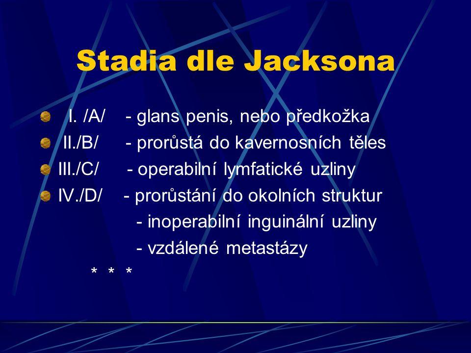 Stadia dle Jacksona I. /A/ - glans penis, nebo předkožka