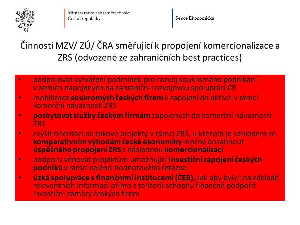 Činnosti MZV/ ZÚ/ ČRA směřující k propojení komercionalizace a ZRS (odvozené ze zahraničních best practices)