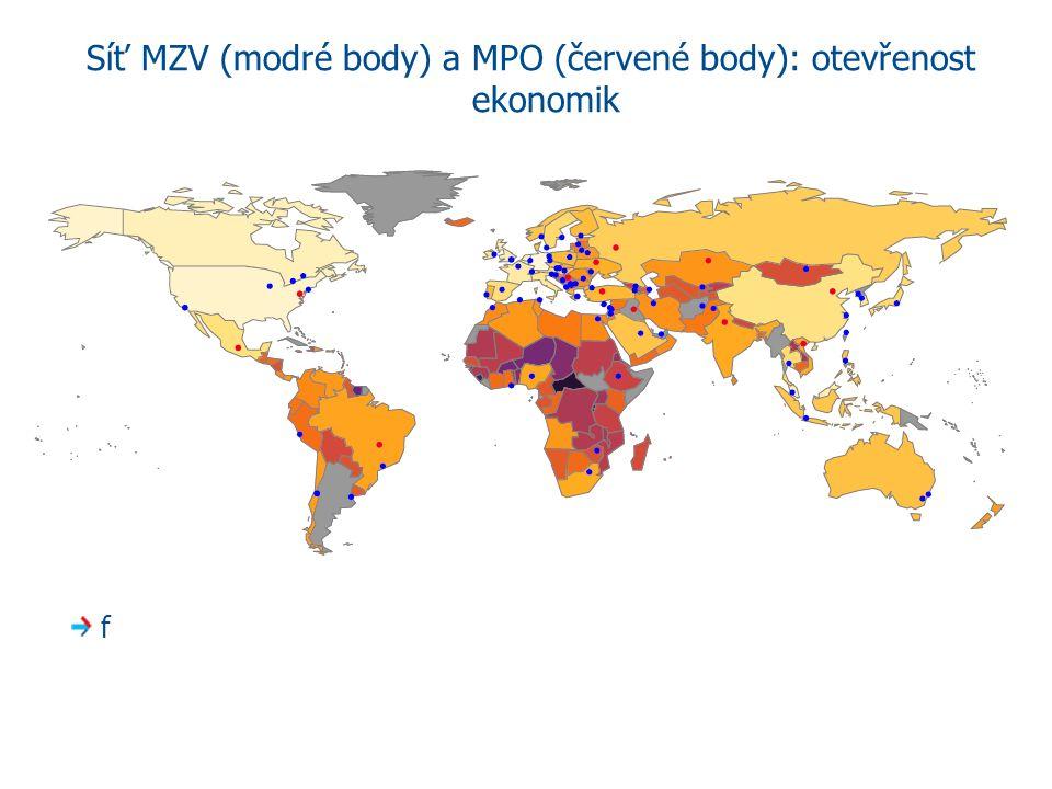 Síť MZV (modré body) a MPO (červené body): otevřenost ekonomik