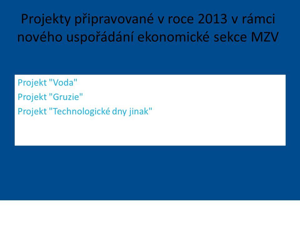 Projekty připravované v roce 2013 v rámci nového uspořádání ekonomické sekce MZV