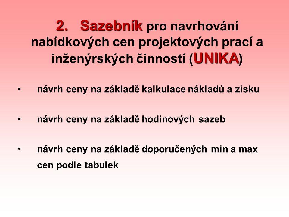 2. Sazebník pro navrhování nabídkových cen projektových prací a inženýrských činností (UNIKA)