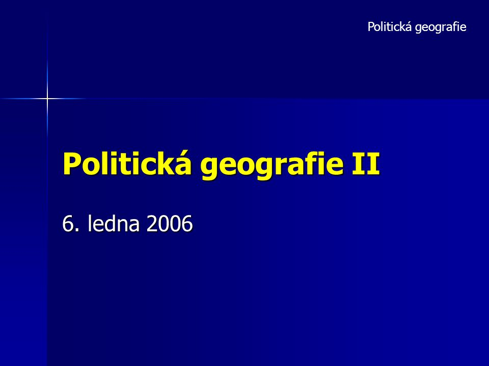 Politická geografie II