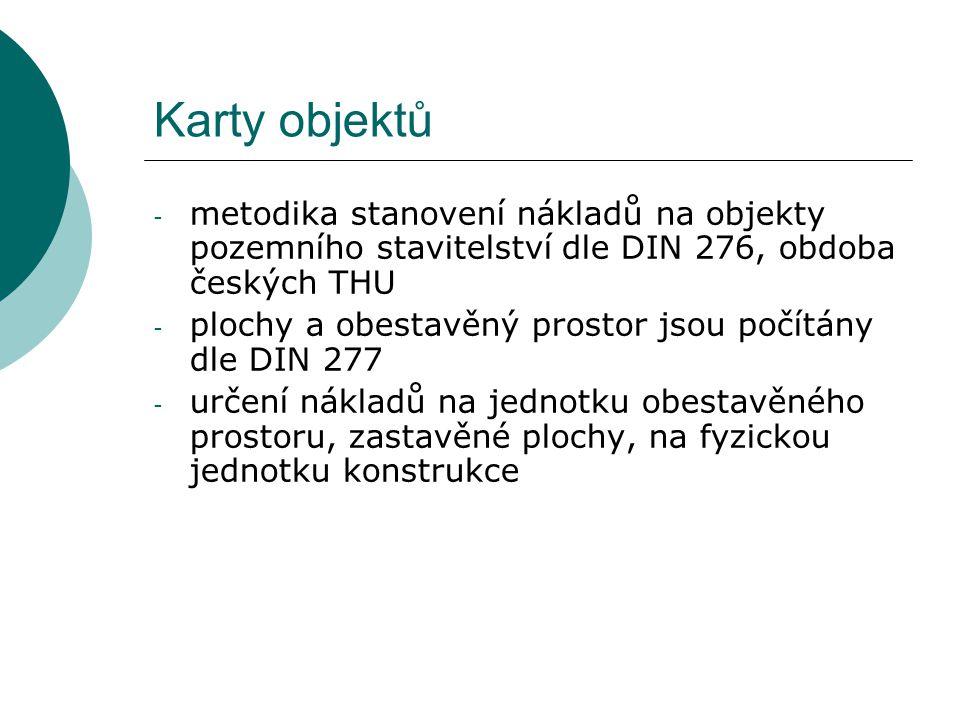 Karty objektů metodika stanovení nákladů na objekty pozemního stavitelství dle DIN 276, obdoba českých THU.