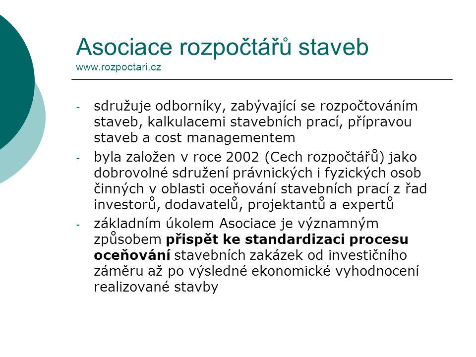 Asociace rozpočtářů staveb www.rozpoctari.cz
