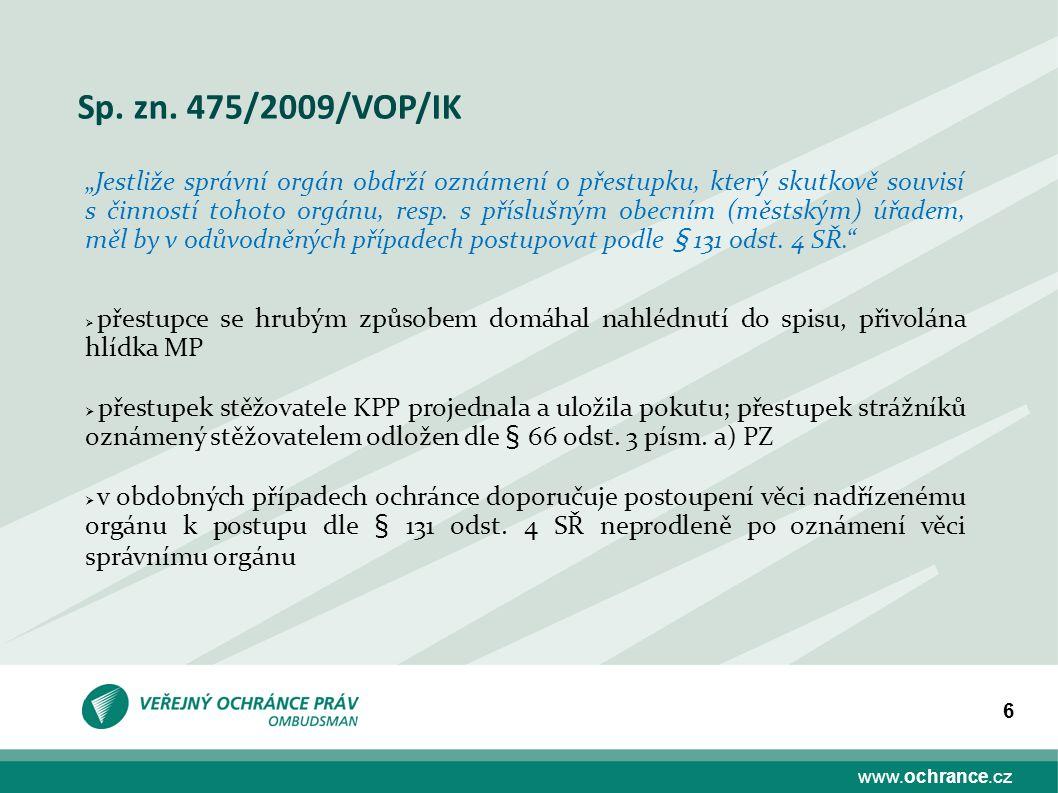 Sp. zn. 475/2009/VOP/IK