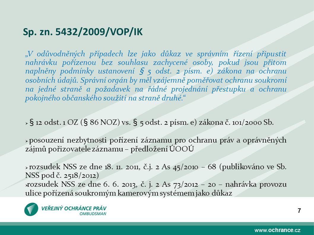 Sp. zn. 5432/2009/VOP/IK