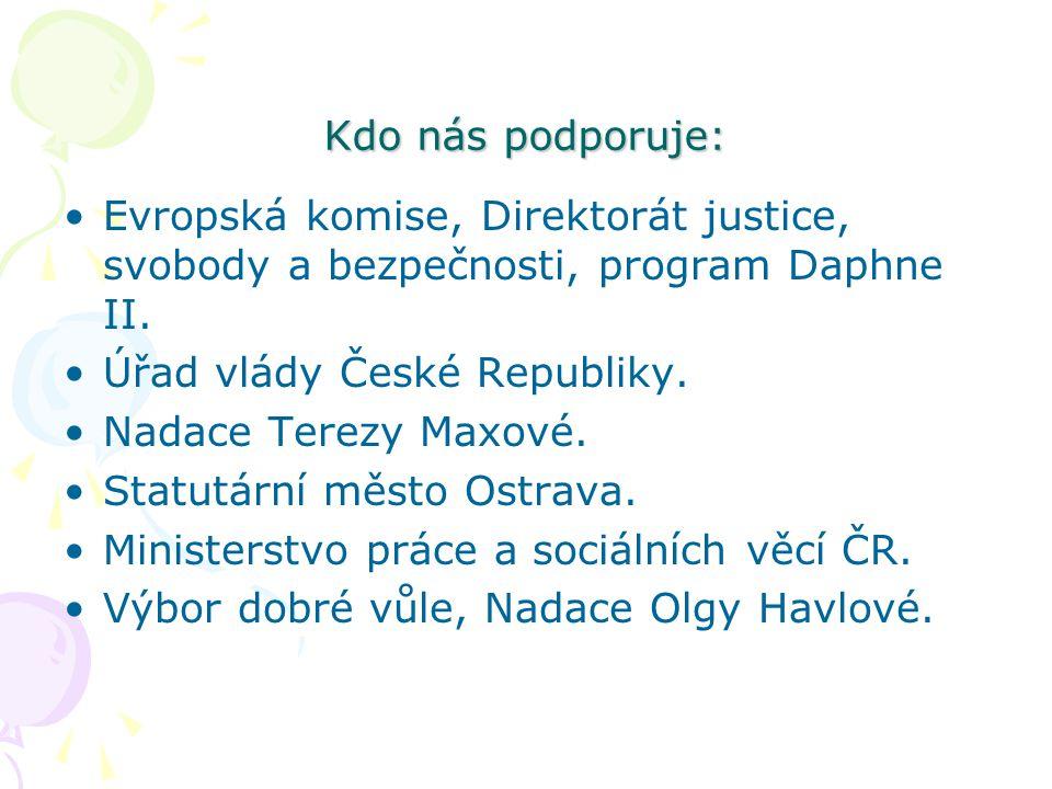 Kdo nás podporuje: Evropská komise, Direktorát justice, svobody a bezpečnosti, program Daphne II. Úřad vlády České Republiky.
