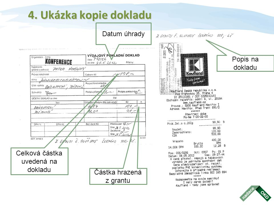 4. Ukázka kopie dokladu Datum úhrady Popis na dokladu