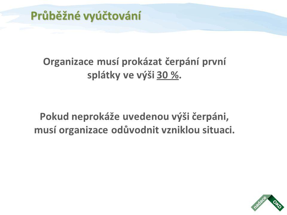 Organizace musí prokázat čerpání první splátky ve výši 30 %.