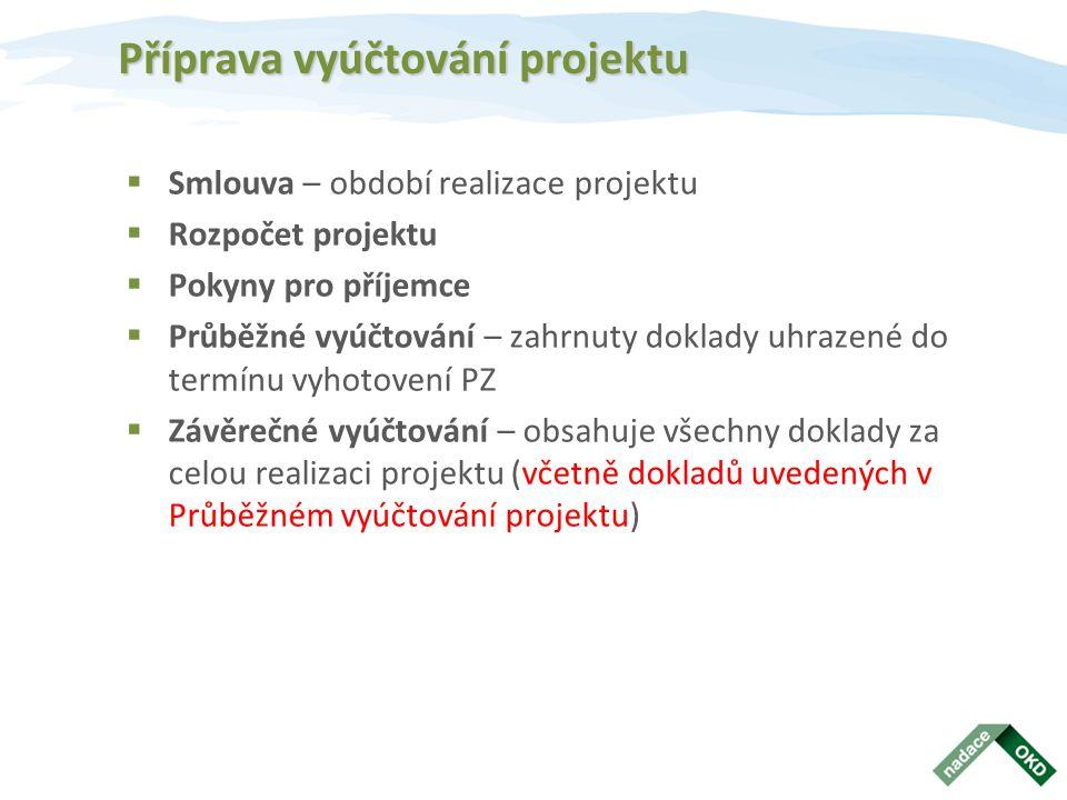Příprava vyúčtování projektu