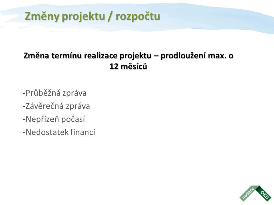 Změny projektu / rozpočtu