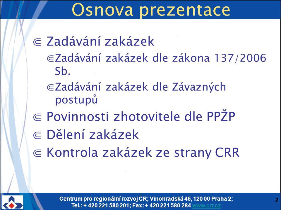 Osnova prezentace Zadávání zakázek Povinnosti zhotovitele dle PPŽP