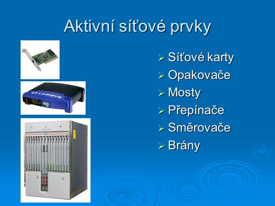Aktivní síťové prvky Síťové karty Opakovače Mosty Přepínače Směrovače