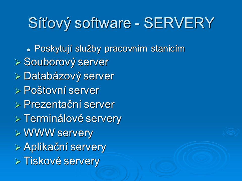 Síťový software - SERVERY