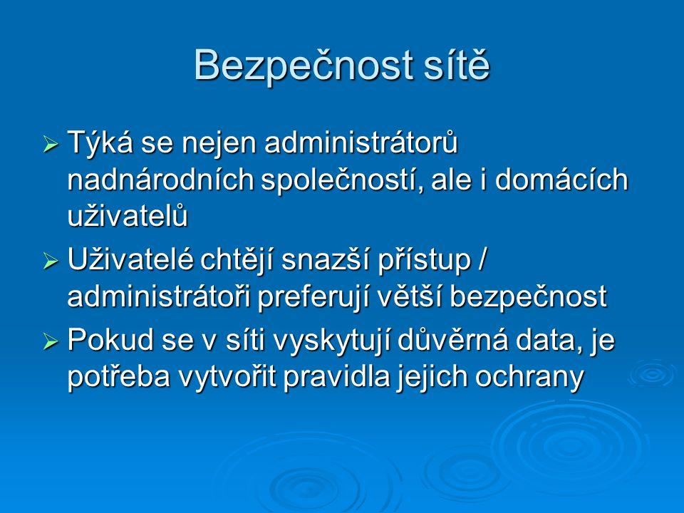 Bezpečnost sítě Týká se nejen administrátorů nadnárodních společností, ale i domácích uživatelů.
