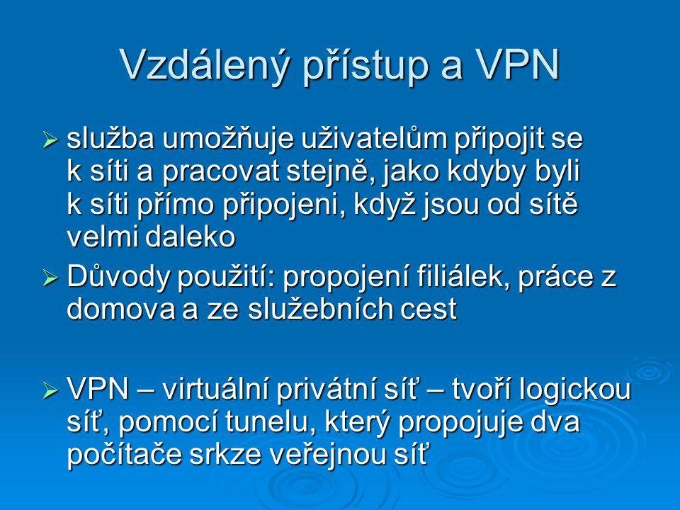 Vzdálený přístup a VPN