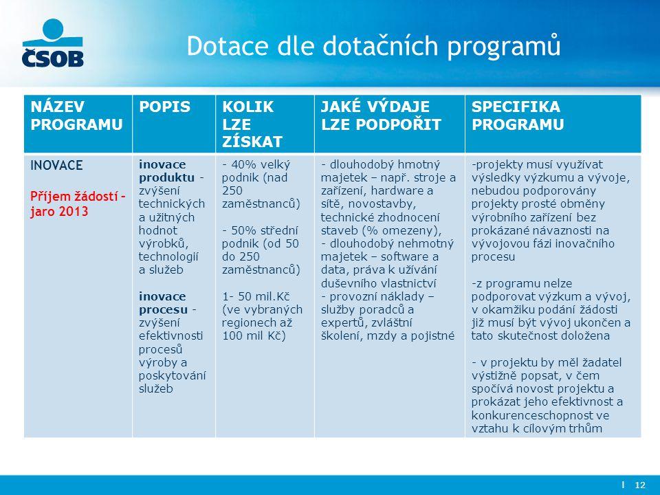 Dotace dle dotačních programů